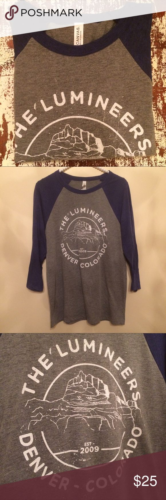 Lumineers Concert T Shirt Baseball style Limited edition screen printed concert t, summer 2016, Lumineers 💕❤️ Gray with blue sleeves. Tops Tees - Long Sleeve
