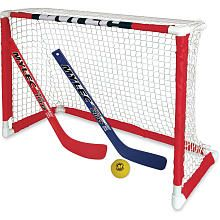 Product Description  Enjoy hours of indoor fun with this all inclusive Mini Hockey Goal Set. The Mini Hockey Goal Set features a pro style top shelf Goal that measures 30.5 inch x 23 inch. Our sleeve netting system assembles in minutes. Plus the Mini Hockey Goal Set includes 2 pre-curved mini sticks and a mini foam ball.