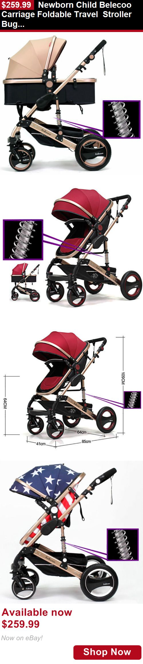 Strollers: Newborn Child Belecoo Carriage Foldable Travel Stroller Buggy Pushchair Pram BUY IT NOW ONLY: $259.99