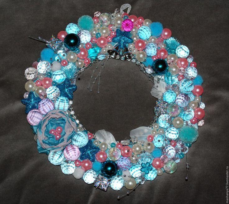 """Купить Венок свадебный """"Розово-голубой"""" - для интерьера, для дома и интерьера, сувенир, для украшений, на дверь"""