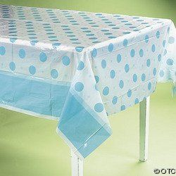 "Plastic Blue Polka Dot Baby Shower Tablecloth by Fun Express. $4.19. Easy decoration and easy clean up for It's A Boy Baby Shower.  Blue and white polka dotted table cloth is 72"" x 54""."