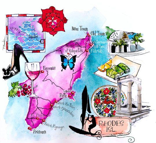 Rhodes - Art maps of Greek islands by Eleni Tsakmaki