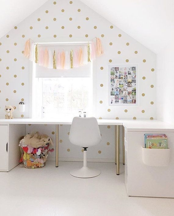 Peel and Stick Metallic Gold Polka Dot Wall Decals | Long Life | Apartment Safe #GirlsRoomStickers