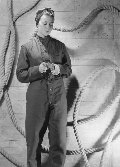 1940s vintage exhibition print of Cecil Beaton photograph A 12612. Coveralls worn by WRNS Maintenance rating, etc.