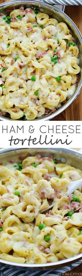Cheesy tortellini with ham and peas. This will become a family-favorite!