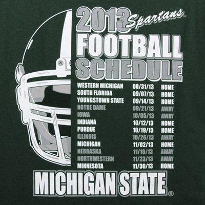 Michigan State Spartans 2013 Football Schedule T-Shirt - Green