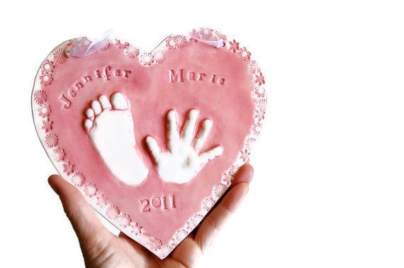Kids and Baby's hand and footprint Ceramic Keepsake of Child,  Gift idea for Mom and Dad, 10 - 18months