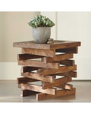VivaTerra Wood Stack Stool - would be fun to duplicate with scraps (maybe pallet pieces and  log top?)