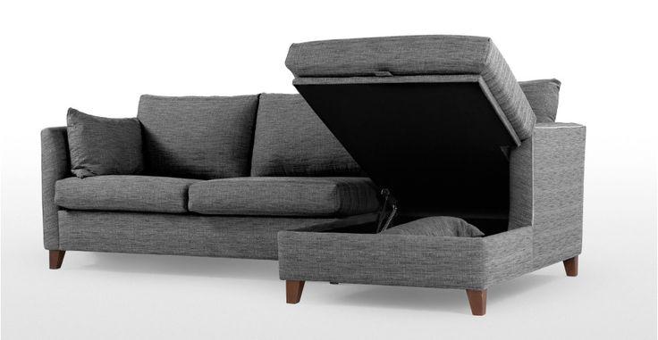 Bari, un canapé-lit d'angle droit avec compartiment de rangement, gris graphite | made.com