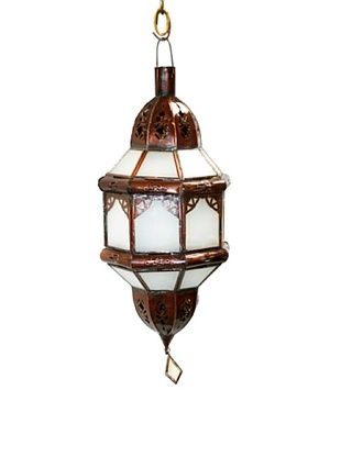 73% OFF Badia Design Brass Shade with White Glass, Brown/White
