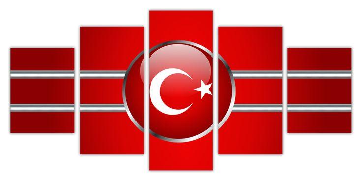 Türk Bayrağı (5 Parça Kanvas Tablo)