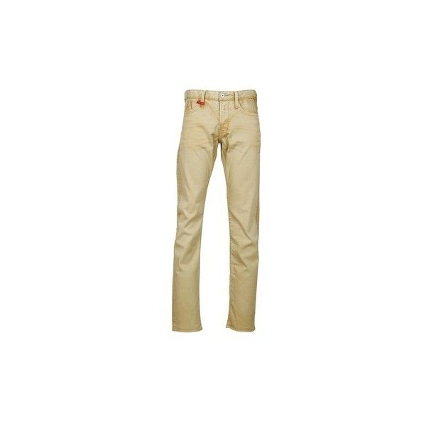 Replay WAITOM Jeans ($145) ❤ liked on Polyvore featuring men's fashion, men's clothing, men's jeans, beige, replay mens jeans and mens straight jeans