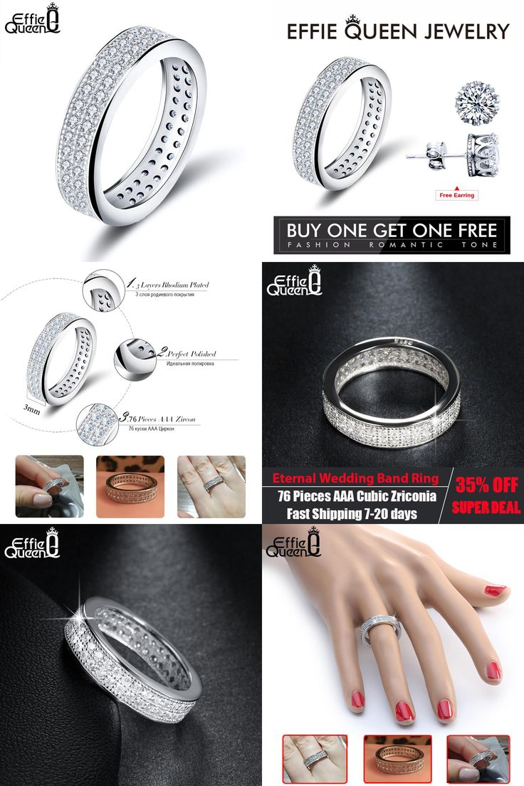 [Visit to Buy] Effie Queen White Gold-color Eternity Ring Zircon Fashion Anniversary Jewelry Ring for Women bijou acier inoxidable femme DR121 #Advertisement