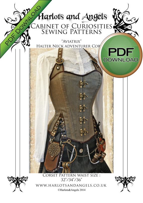 Unique Corset Sewing Pattern. Pdf Steampunk Corset. Home Print on USA letter / A4 plus size Large