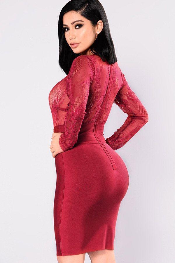 4df46c581ca Dark Red Burgundy Lace Sheer Long Sleeve Bodycon Club Dress ...