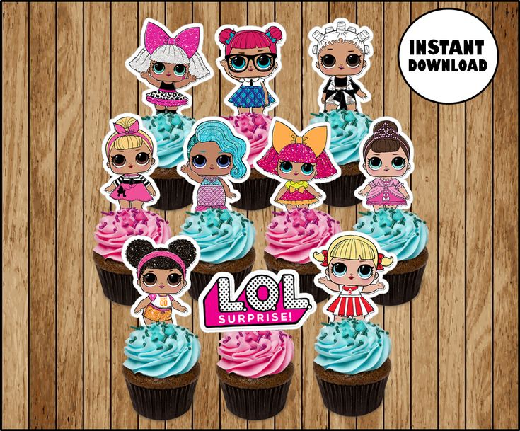 LOL Surprise Dolls cupcakes toppers, printable LOL Dolls party toppers, LOL Surp… – Lol dolls
