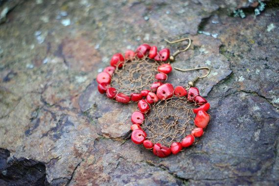 Circular Boho Coral Brass Wire Mesh Earrings by nZuriArtDesigns