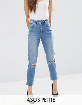 ASOS PETITE FARLEIGH Slim Mom Jeans in Prince Light Wash with Busted Knees
