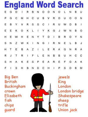 England Themed Word Search Summer Holidays Week 1