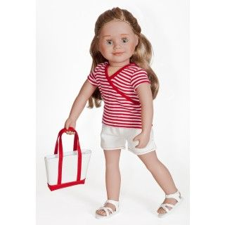 Landmark Lore: Léonie loves to get out and explore her home province of Quebec—there are so many interesting places to go! And she is all set for a day of adventuring in her red and white striped top, comfortable pull-on shorts, strappy white sandals and over-the-shoulder tote bag.