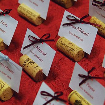 Place card holders from recycled wine bottle corks