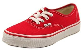 Vans Authentic Youth Round Toe Canvas Red Skate Shoe.
