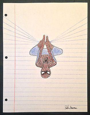 Spider-Man Drawing - Notebook Paper Art - Hand Drawn Original - Hero Art Comic