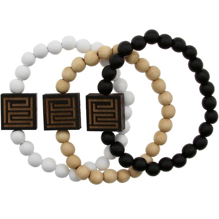 PYS x Good Wood NYC Block Logo Beaded Bracelet 3 Pack (white / natural wood / black) - PYS.com Exclusive
