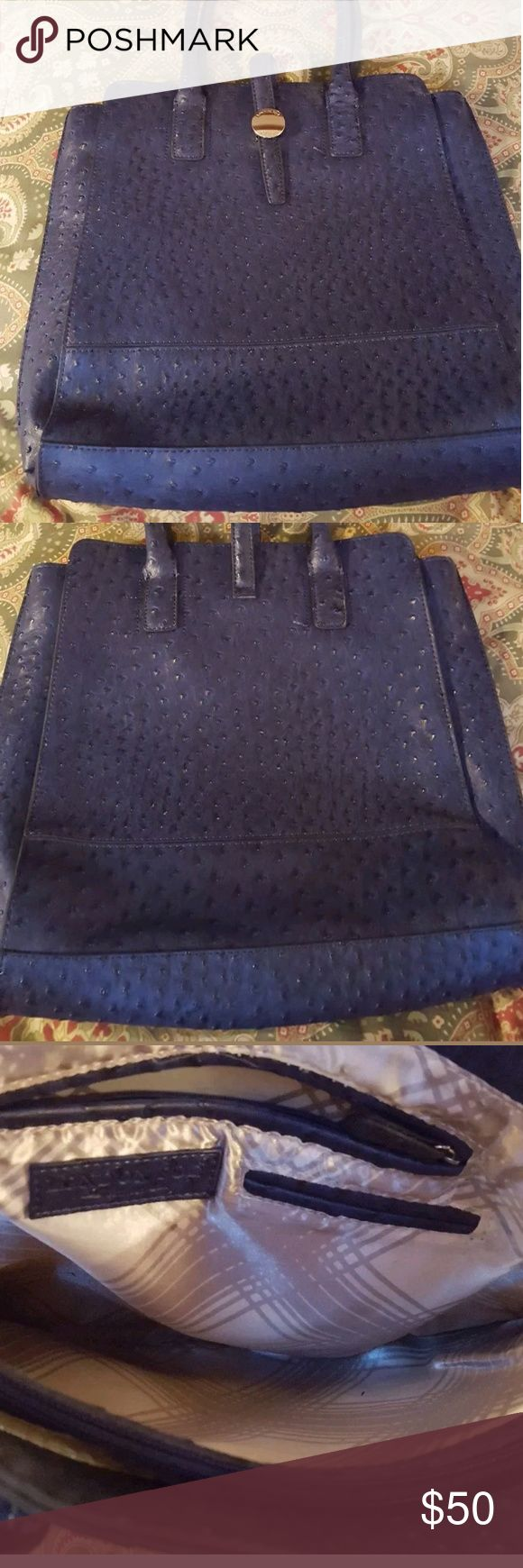 """London Fog blue shoulder bag purse tote Bag is in excellent condition.  15.5 length,  8"""" strap drop, 13"""" depth,  13"""" height.      Bag opens to three compartments. Front had two slip pockets. Middle is a slim zip compartment. Back has one larger and one small slip pocket. Key holder included. Back is located in a smoke-free home. London Fog Bags Totes"""