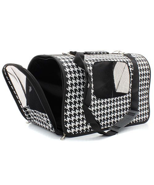 We have houndstooth pet carriers at Blue Bumble Bee!