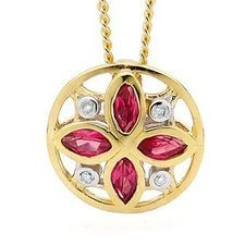Ruby and Diamond Flower Pendant - BEE-65379-CR