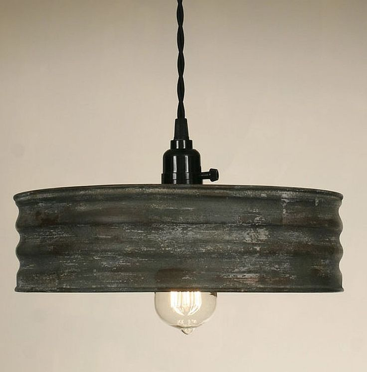 Vintage Rustic Primitive Industrial SIFTER Pendant Light Lamp Textured Gray #ColonialTinWorks