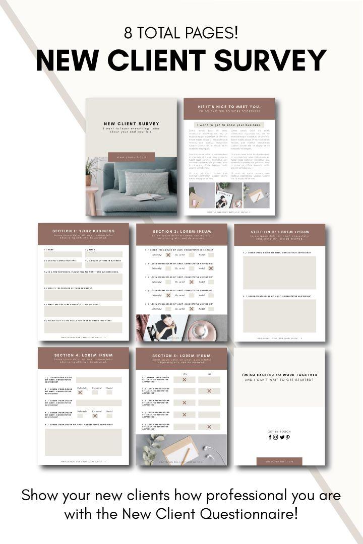 New Client Survey Tiny Pine Creative In 2020 Survey Template Client Questionnaire Business Plan Template