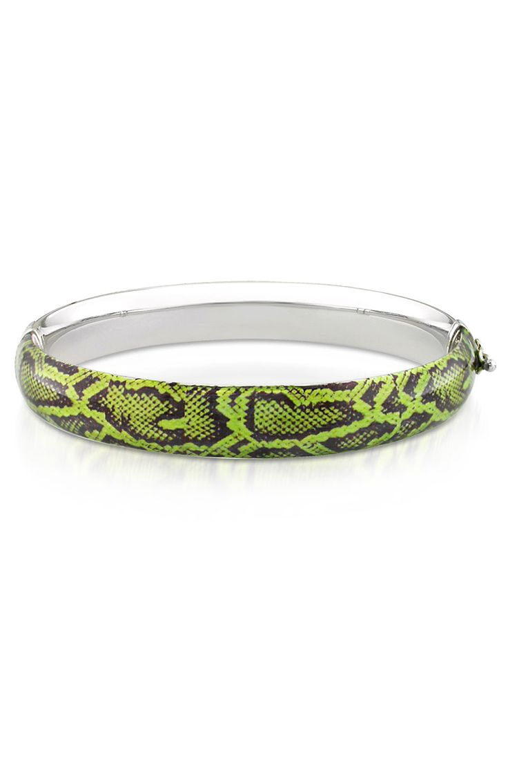 Sterling Silver Snake Design Bangle in Green - Beyond the Rack