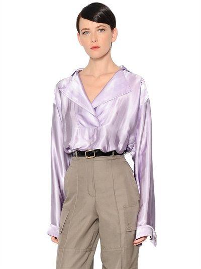 NINA RICCI JACQUARD SATIN BLOUSE, LILAC. #ninaricci #cloth #shirts
