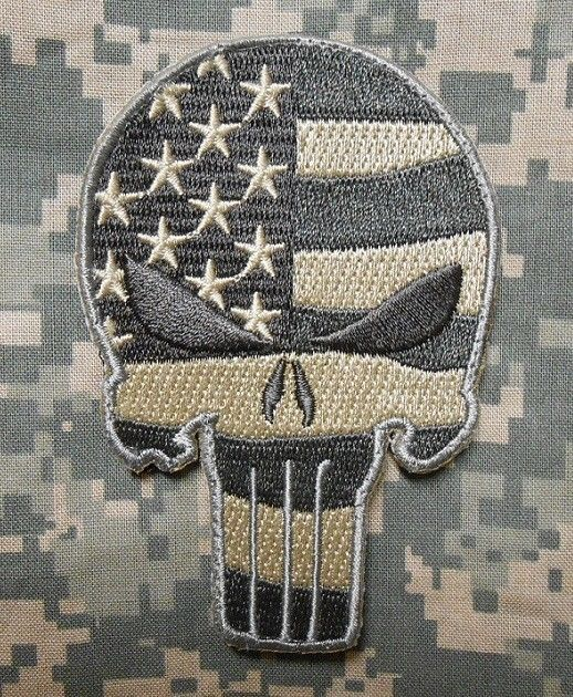PUNISHER SKULL USA WAVING FLAG MILSPEC US ARMY MORALE ISAF CAMO ACU VELCRO PATCH in Collectibles   eBay
