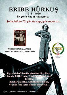 1936 - Cumhuriyet Bayramı kutlamalarında, Eribe Hanım paraşütüyle yere çakılarak öldü. Eribe Hanım tayyareci Vecihi'nin kızıydı.