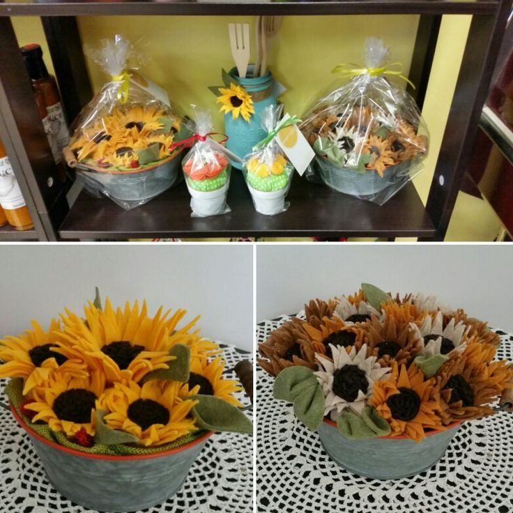 Handmade felt sunflower arrangements and felt flower pincushions handmade by Sharon, are available for purchase at ready to grill foods. 71 Mountainview north unit 7 Georgetown Ontario. 😊