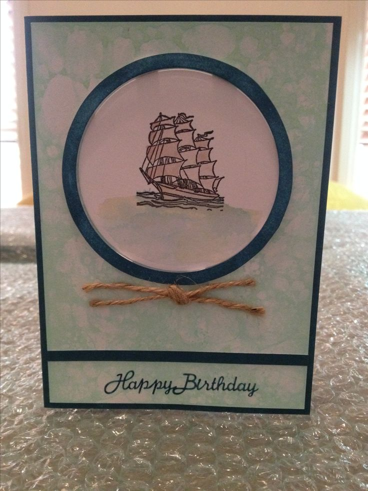 Ship Card - Male Card - Using Homemade Bubble Paper background