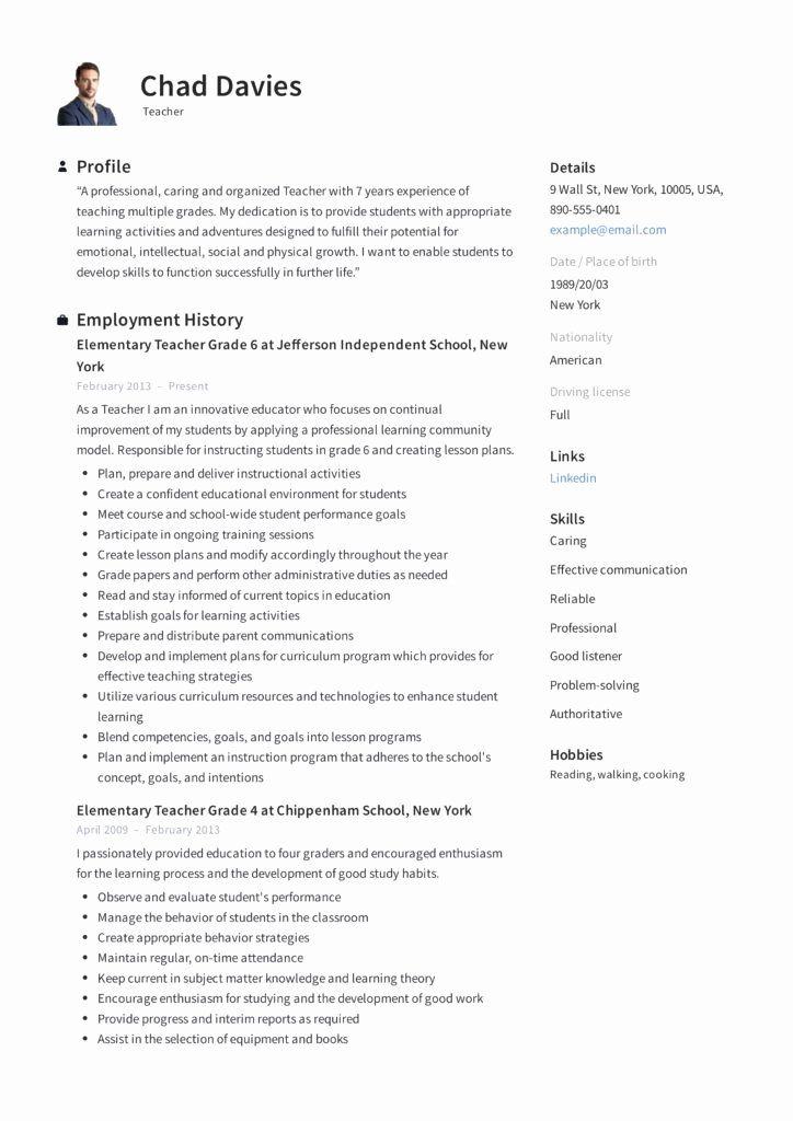 Resume for student teaching best of teacher resume