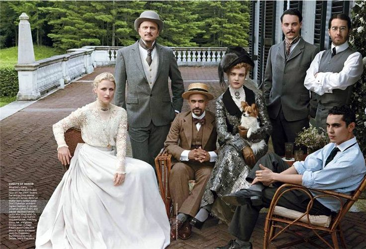 Vogue US September 2012  Model: Natalia Vodianova and actors: Juno Temple, Mamie Gummer, Elijah Wood,   Jeffrey Eugenides, Jack Huston, Nate Lowman, Junot Diaz, Jonathan Safran Foer,   Max Minghella and James Corden  Photographer: Annie Leibovitz