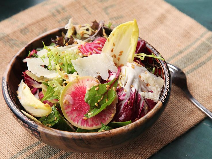 Winter greens, shaved beets and radishes, seeds, and Parmesan make a great light lunch. #salad