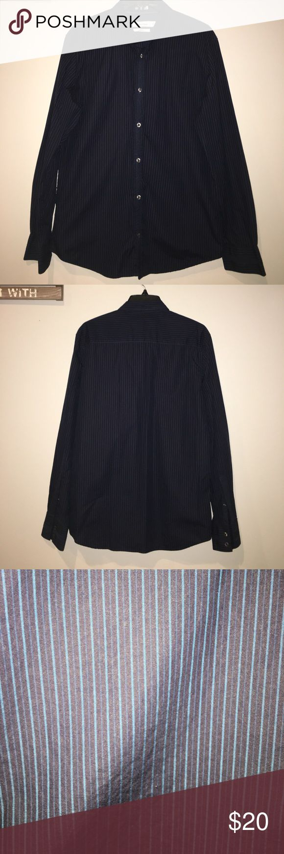 Calvin Klein Slim Fit Navy Button Down Shirt Color: Dark Navy Blue with light blue stripes                     Great Condition, worn once. Shirts Dress Shirts