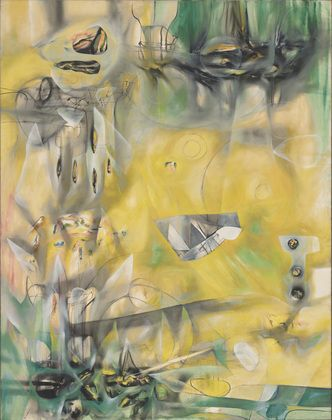 Saw this at MOMA as a kid, awestruck. - Here, Sir Fire, Eat! Roberto Matta (Chilean, 1911-2002)