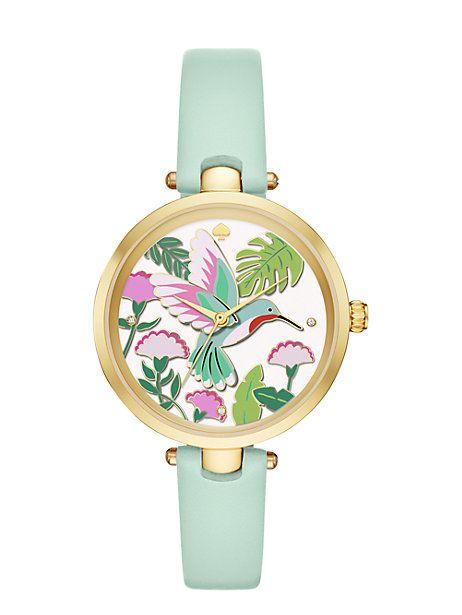 hummingbird holland watch, mint splash / gold, large