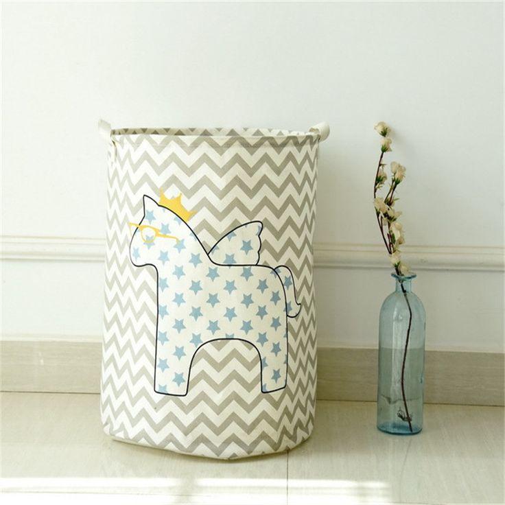 Waterproof Storage Basket Barrel 40*50cm Cotton Linen Multi-function Stackable Storage Laundry Toy Clothes Storage Box Bag Bins