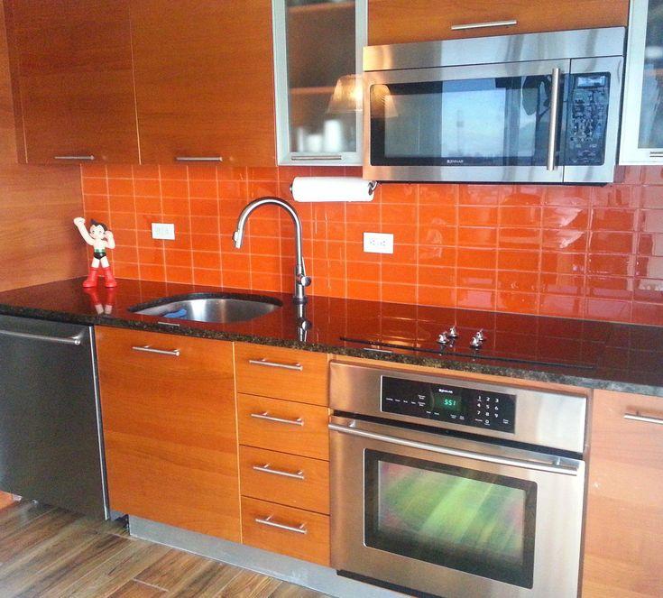 lush poppy 3x6 bright orange subway tile kitchen backsplash installation kitchentile in 2020 on kitchen interior tiles id=50504