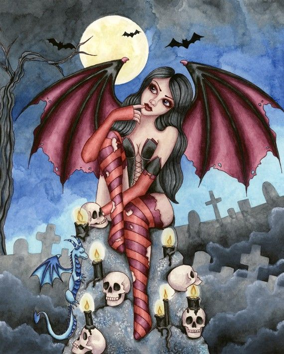 Vampire Art Print  Angelique  8 x 10 Fantasy Art by aurella27, $13.00