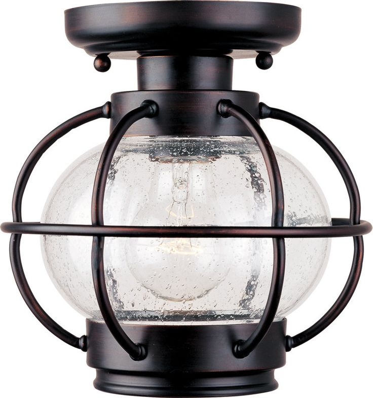 Front Porch Light - Portsmouth Single-Bulb Flush Mount Outdoor Ceiling Fixture - Glass Shade Included