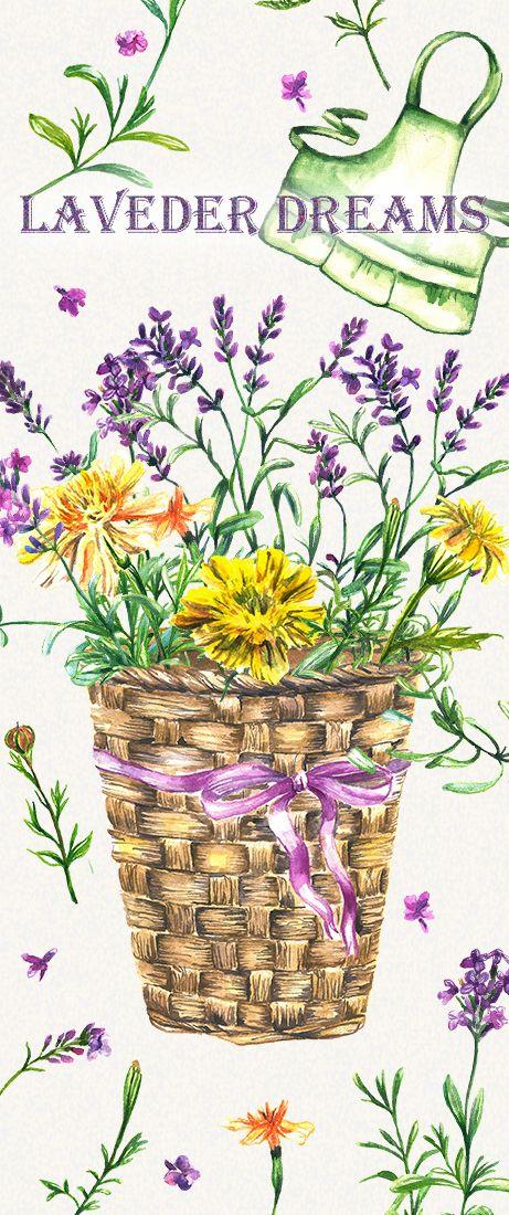 lavender clipart, floral clipart, flowers clipart, watercolor clipart, watercolor lavender